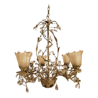Shabby Chic Glass + Metal 5-Light Chandelier For Sale