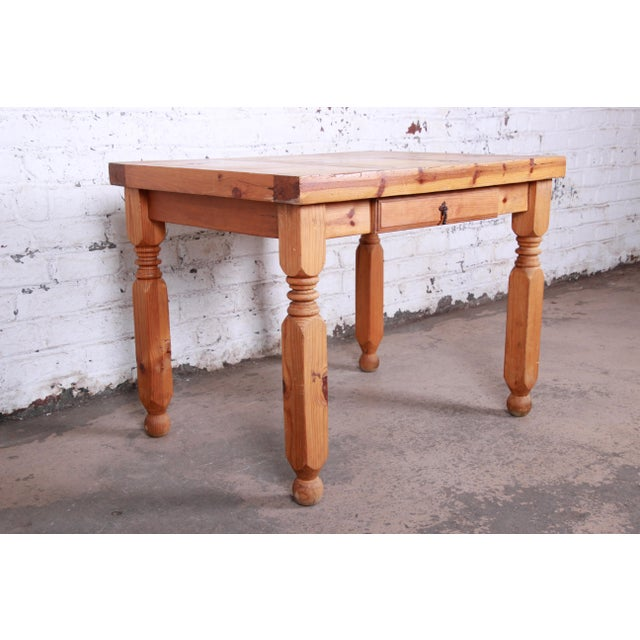 Vintage Rustic Solid Pine Writing Desk For Sale In South Bend - Image 6 of 11