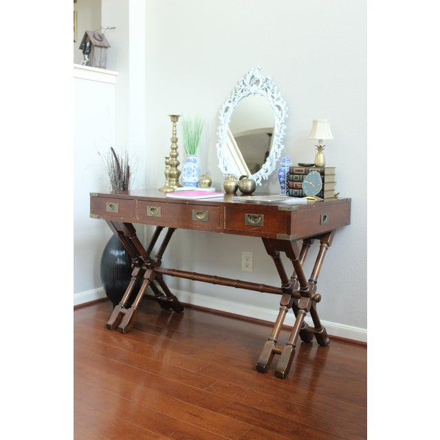 Campaign Style Double X Base Writing Desk - Image 3 of 11