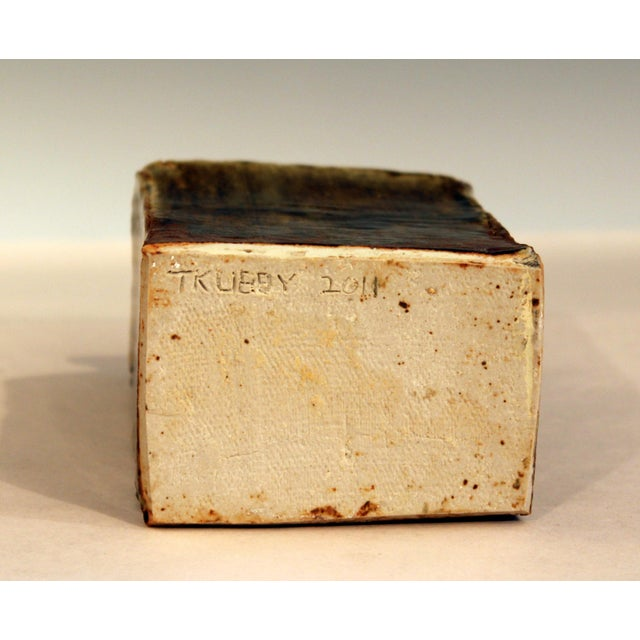 Vintage Studio Pottery Slab Wabi Sabi Rectangular Square Vase Signed Ikebana For Sale In New York - Image 6 of 9