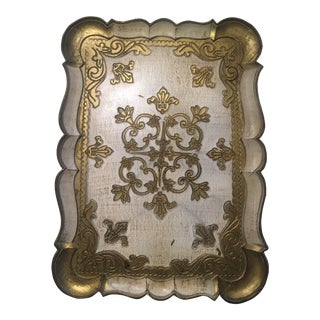 1950s Regency Florentine Gold Washed Cream Wooden Tray Italy For Sale