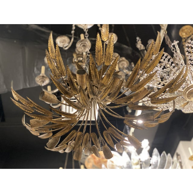1930s Gilt Metal 10 Light Fixture For Sale - Image 4 of 10