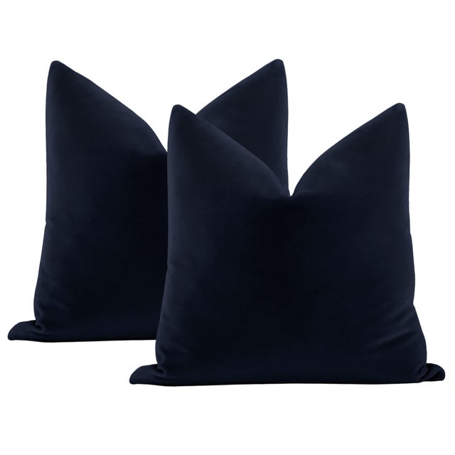 """Not Yet Made - Made To Order 22"""" Navy Blue Italian Velvet Pillows - a Pair For Sale - Image 5 of 5"""