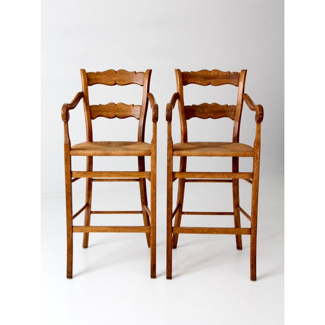Vintage High Back Bar Arm Stools - A Pair - Image 2 of 7
