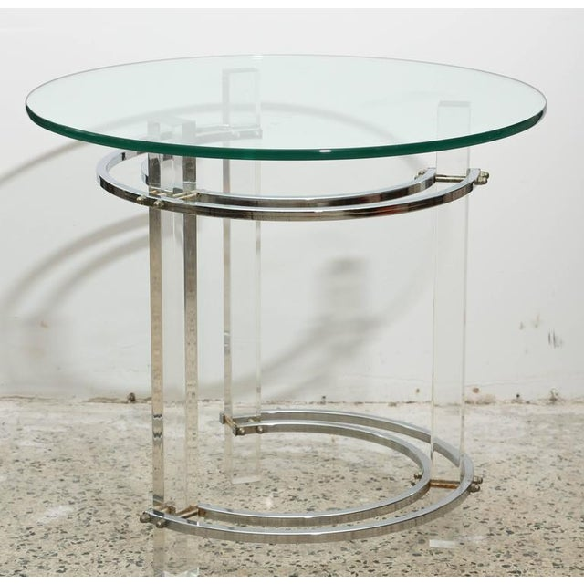 Pair of round chrome and glass Charles Hollis Jones end tables from the 1970s USA.