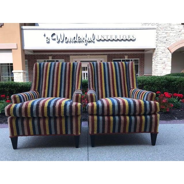 Vintage Century Furniture Kravet Vespa Multi Color Stripe Club Chairs - a Pair For Sale - Image 13 of 13