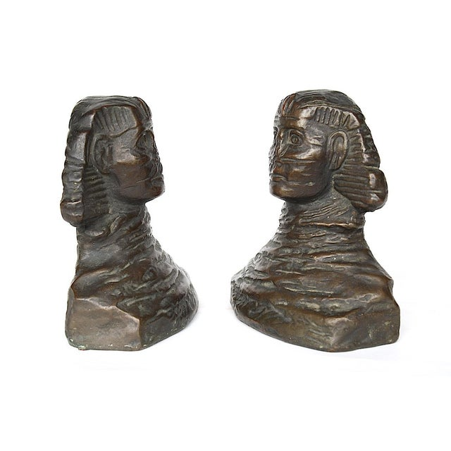 1920s 1920s art Deco Armor Bronze Sphinx Bookends - a Pair For Sale - Image 5 of 7