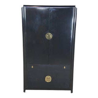 Chinoiserie Romweber Black Lacquered Armoire For Sale