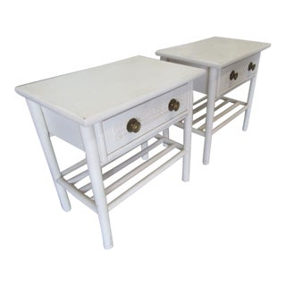Vintage Petite White Side Tables - a Pair For Sale