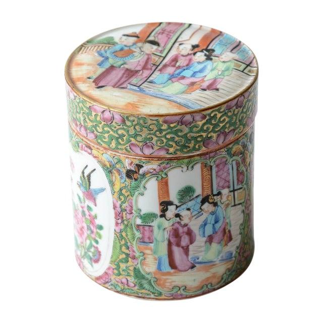 Rose medallion covered jar For Sale