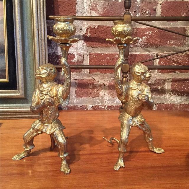 Pair of Gilt Bronze Monkey Candlesticks - Image 3 of 8
