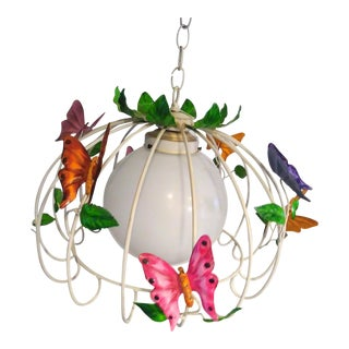 1980s Vintage Italian Tole Cage 8 Large Butterfly Globe Chandelier For Sale