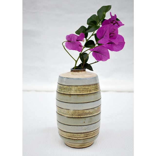 Modern 1980s Traditional Earthenware Striped Vase For Sale - Image 3 of 5