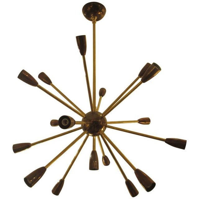 Brass Custom Brass and Copper Sputnik Chandelier with 14 Arms For Sale - Image 7 of 7