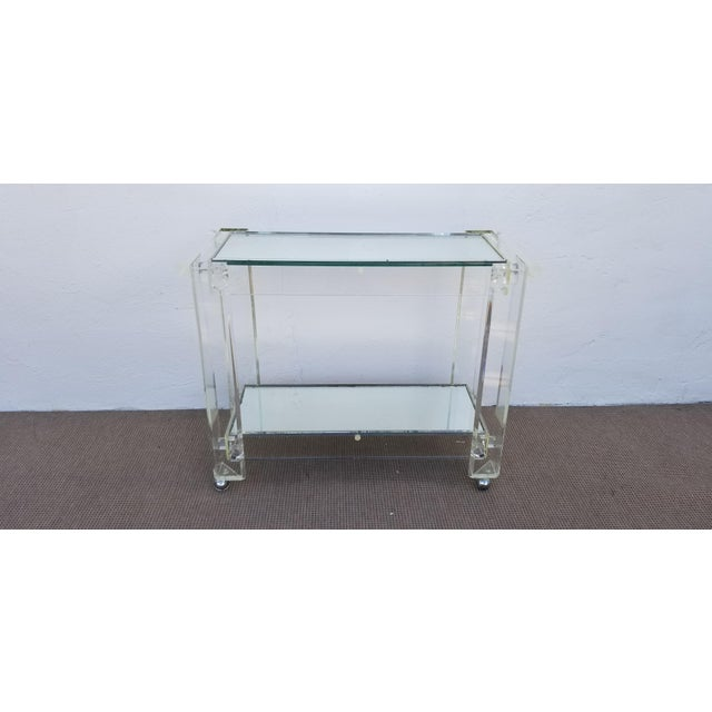 1970s Mid-Century Modern Lucite Mirrored Glass 2-Tier Bar Cart or Trolley For Sale - Image 12 of 12