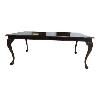Thomasville Flame Mahogany Banded Ball Claw Dining Room Banquet Table