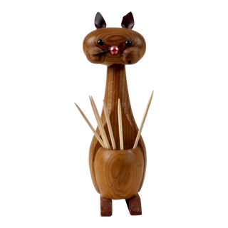 Mid Century Cat Toothpick Holder For Sale