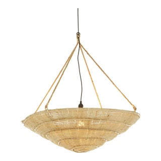 Spiral Pendant, Beige, Rattan For Sale