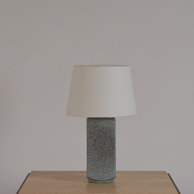 Art Deco Art Deco Shagreen Glaze Ceramic Lamp With Parchment Shade For Sale - Image 3 of 11