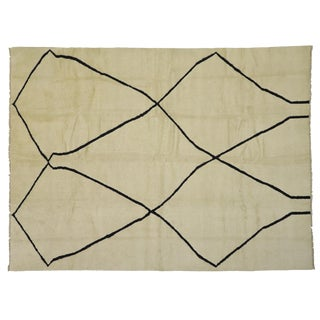 Contemporary Moroccan Area Rug With Organic Modern Style - 10'02 X 13'08 For Sale
