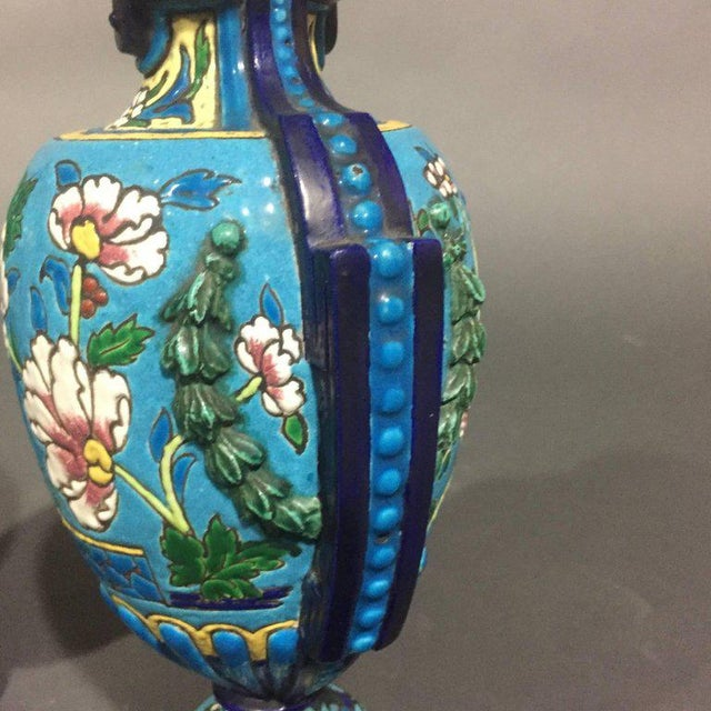 1920s Pair of Emaux de Longwy Attributed Floral Enameled Vases, France For Sale - Image 5 of 10