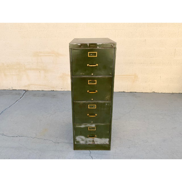 Cole Steel 1940s Large File Cabinet With Brass Hardware by Steel Furniture Mfg. Co. For Sale - Image 4 of 8