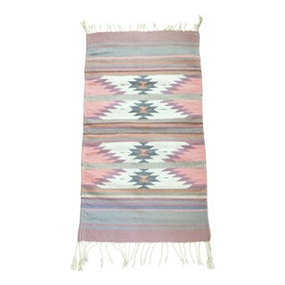 Vintage Southwestern Pastel Wool Rug For Sale