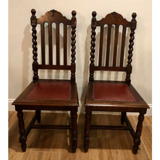 1920s Antique Gothic Barley Twist Renaissance Revival Chairs- a Pair For Sale In West Palm - Image 6 of 6