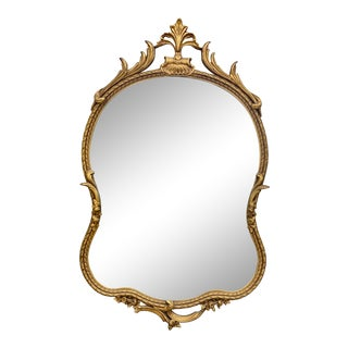 Vintage French Rococo Giltwood Baroque Wall Hanging Mirror 2x4 For Sale