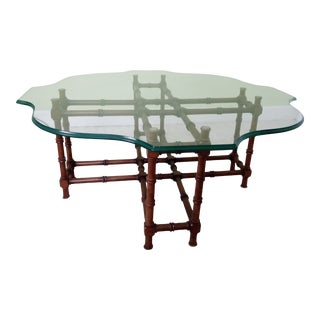 Mid Century Modern Faux Bamboo Glass Top Coffee Table For Sale