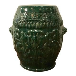 Transitional Green Glaze Ceramic Garden Stool For Sale