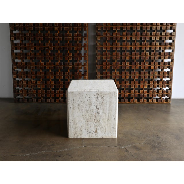 Travertine cube side table or pedestal, circa 1980.