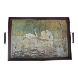 Acrylic Oil Painting of Swans Tray For Sale