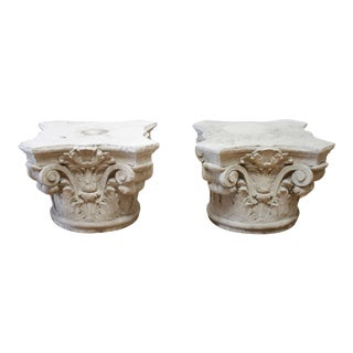Pair of Cast Stone Garden Pedestals or Outdoor Tables For Sale