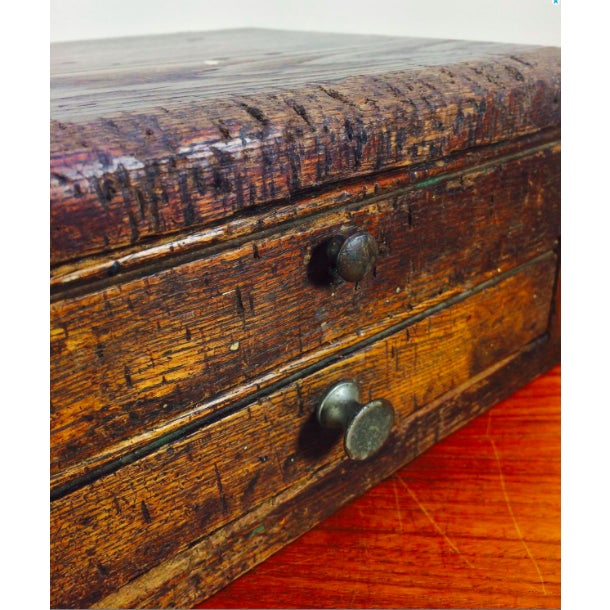 """Primitive LockSmith Wood 2 Drawer Cabinet Worn 1930's... Measures about 12"""" x 9"""" x 5"""" tall... Original condition."""