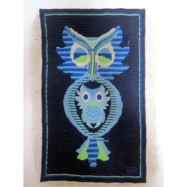 Owl Needlepoint Crewel Wall Pillows - Set of 3 - Image 3 of 5