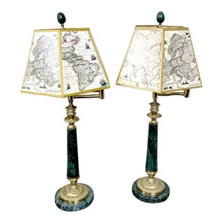 Swing Arm Brass and Green Marble Table Lamps With Map Shades For Sale