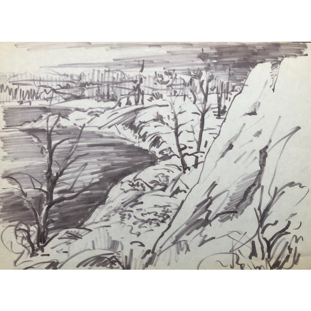 1950s River Landscape by Henry Gasser For Sale
