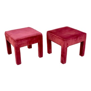1980's Vintage Velour Benches- a Pair For Sale