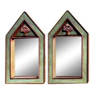 Custom Door Sized Gabled Post Neo-Classic Green Cerused Oak Mirrors - a Pair For Sale