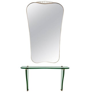 Beautiful Console Table with Wall Mirror by Fontana Arte, Italy, 1930s-1940s