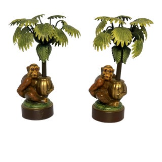Petites Choses Monkey Palm Tree Candle Holders - a Pair For Sale