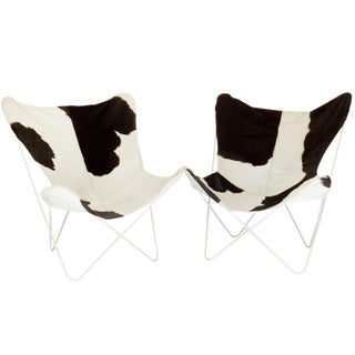 Pair of Cowhide Butterfly Chairs For Sale