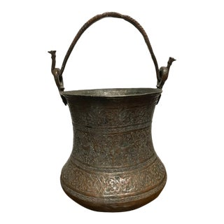 Persian Safavid Copper and Tin Etched Bucket For Sale