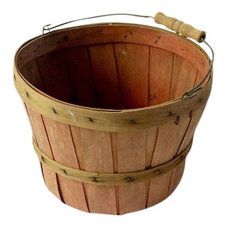 Vintage Wood Slat Apple Basket For Sale