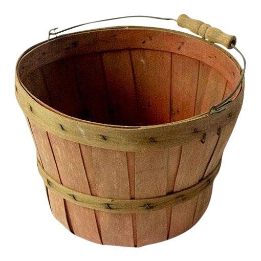 Vintage Wood Slat Apple Basket For Sale