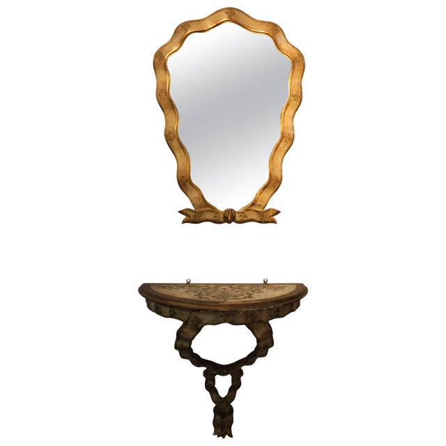 1940s Gilt Frame Italian Mirror and Console For Sale