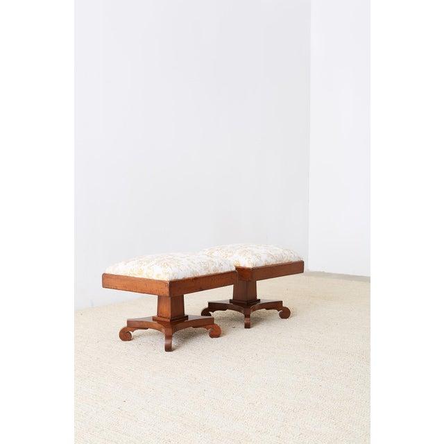 Biedermeier Pair of Biedermeier Carved Footstools With Fortuny Upholstery For Sale - Image 3 of 13