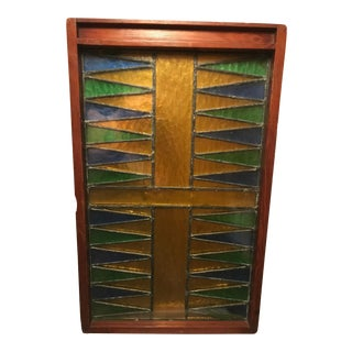 Vintage Stained Lead Glass Backgammon Board