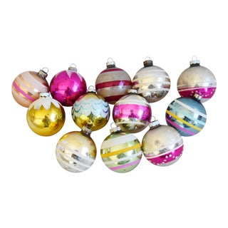 Vintage Colorful Christmas Ornaments - Set of 12 For Sale